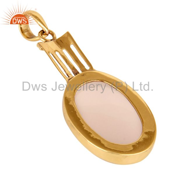 Suppliers Natural Rose Quartz Gemstone Pendant - Yellow Gold Plated