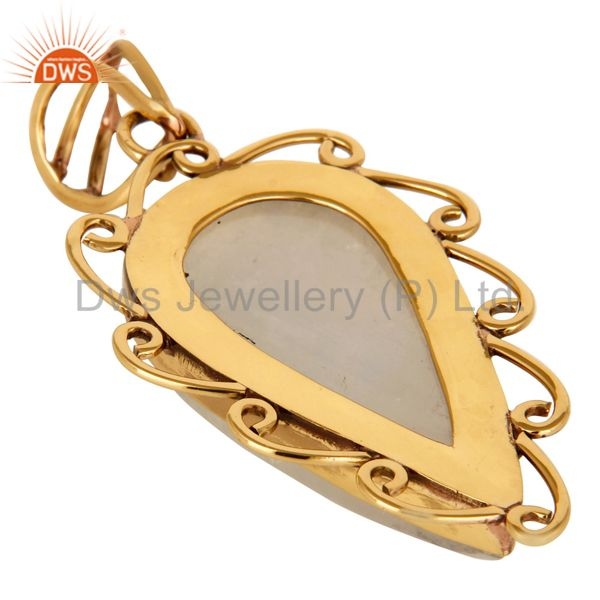 Suppliers Natural Rainbow Moonstone Gemstone Designer Pendant - Yellow Gold Plated