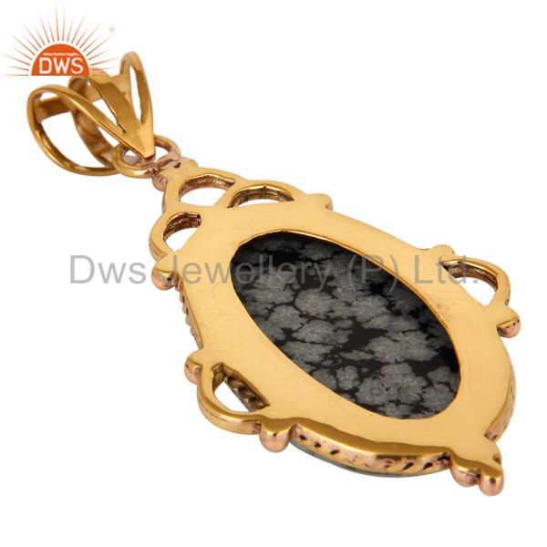 Suppliers Natural Snowflake Obsidian Gemstone Pendant In Yellow Gold Plated Over Brass