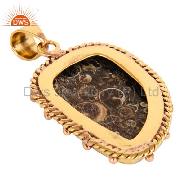 Suppliers 18K Yellow Gold Plated Natural Turritella Agate Gemstone Pendant