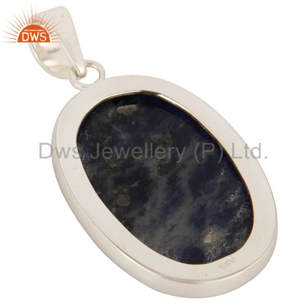 Suppliers Natural Sodalite Gemstone Handmade Solid Sterling Silver Pendant