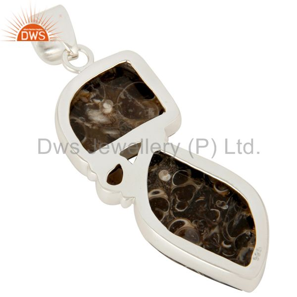 Suppliers Handmade Turritella Agate And Smoky Quartz Sterling Silver Gemstone Pendant