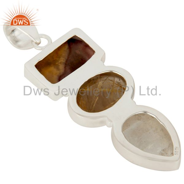 Suppliers Rutilated Quartz, Rainbow Moonstone And Mookaite Sterling Silver Pendant