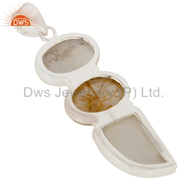 Suppliers Golden Rutilated Quartz And Rainbow Moonstone Pendant Made In Sterling Silver