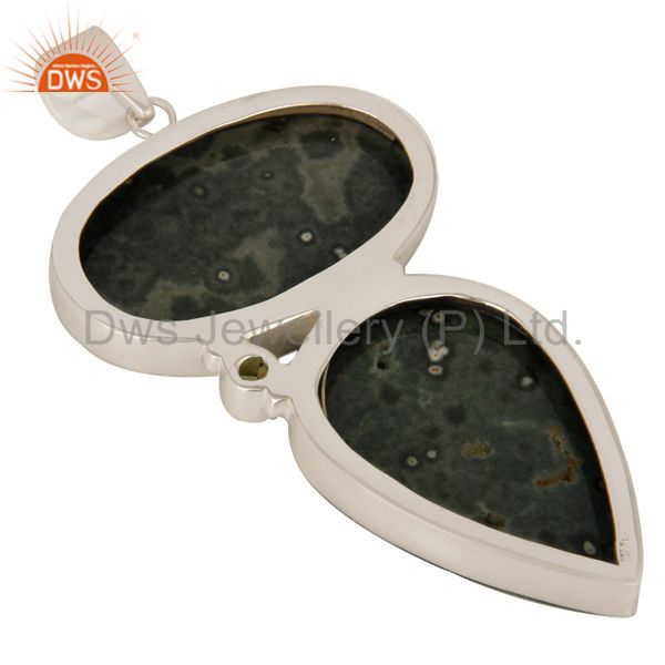 Suppliers Natural Ocean Jasper And Peridot Gemstone Solid Sterling Silver Pendant