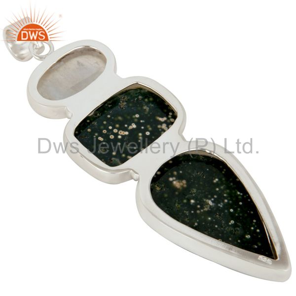 Suppliers Natural Ocean Jasper And Snowflake Obsidian Solid Sterling Silver Pendant