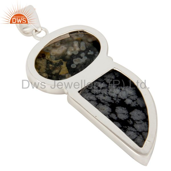 Suppliers Natural Ocean Jasper And Snowflake Obsidian Solid 925 Sterling Silver Pendant