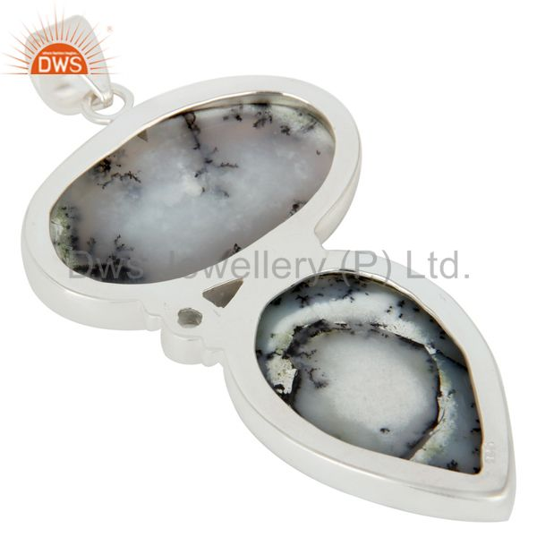 Suppliers Handmade Solid Sterling Silver Dendritic Opal And Blue Topaz Bezel Set Pendant