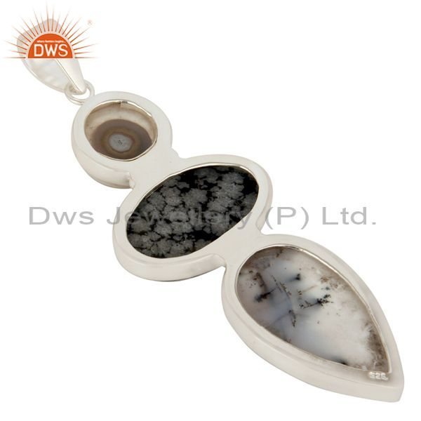 Suppliers Natural Dendritic Opal, And Snowflake Obsidian Bezel Set Sterling Silver Pendant