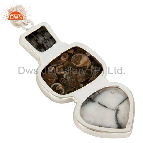 Suppliers Handmade Solid Sterling Silver Dendritic Opal And Turritella Agate Pendant