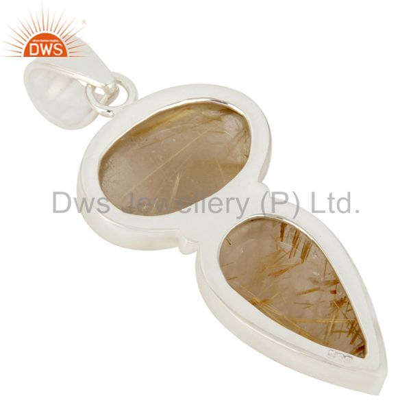 Suppliers Handmade Solid Sterling Silver Rutilated Quartz Gemstone Bezel Set Pendant