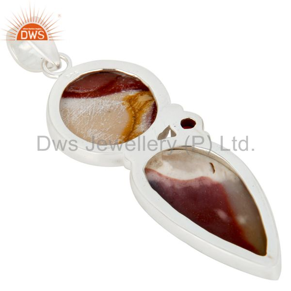 Suppliers Handmade Mookaite And Garnet Solid Sterling Silver Gemstone Bezel Set Pendant