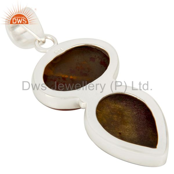 Suppliers Natural Mookaite Solid Sterling Silver Double Gemstone Bezel Set Pendant