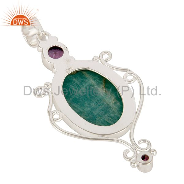 Suppliers Handmade Sterling Silver Amazonite And Amethyst Gemstone Designer Pendant