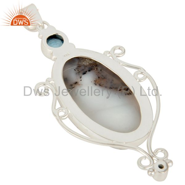 Suppliers Handmade Sterling Silver Dendritic Opal And Blue Topaz Bezel Set Pendant