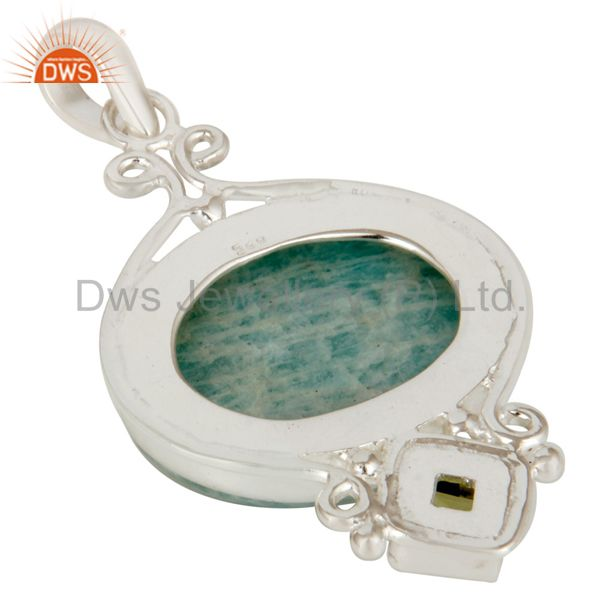 Suppliers Natural Amazonite And Peridot Solid Sterling Silver Gemstone Designer Pendant