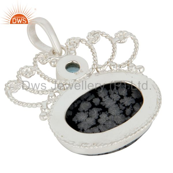 Suppliers Handmade Sterling Silver Snowflake Obsidian And Blue Topaz Designer Pendant