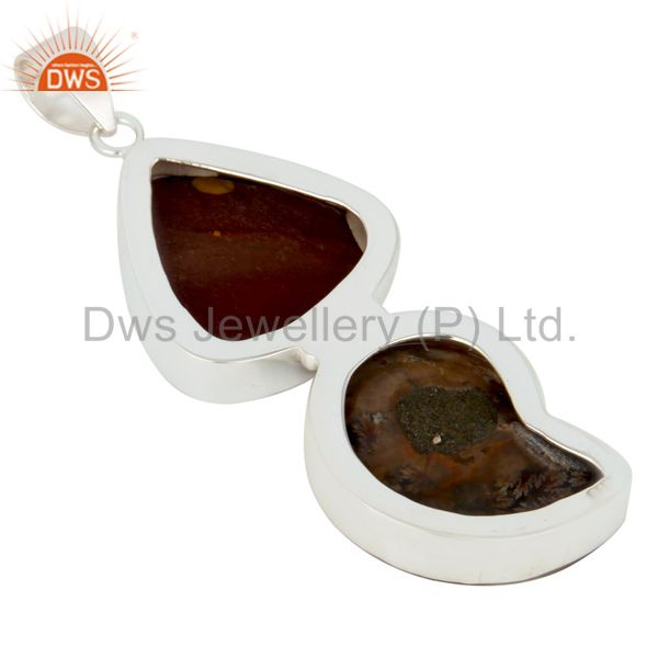 Suppliers Handmade Solid Sterling Silver Mookaite And Ammonite Bezel Set Pendant