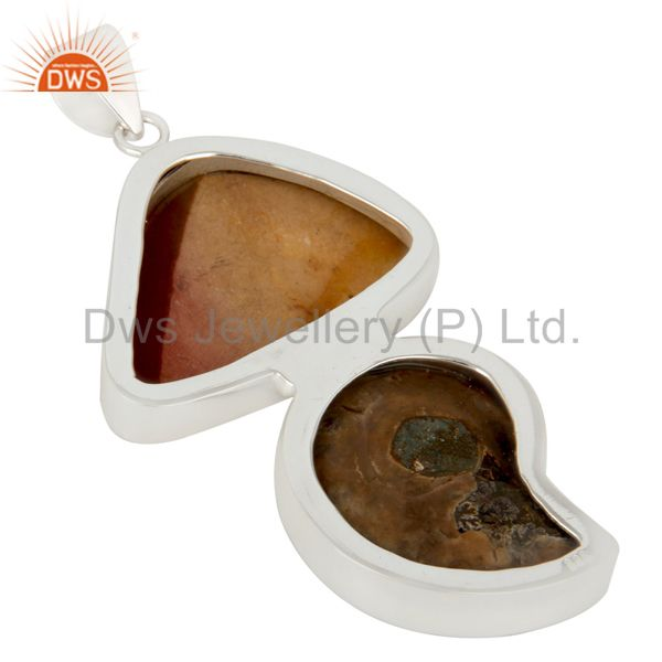 Suppliers Handmade Solid Sterling Silver Ammonite And Mookaite Bezel Set Pendant