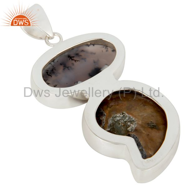 Suppliers Handmade Solid Sterling Silver Ammonite And Dendritic Opal Bezel Set Pendant