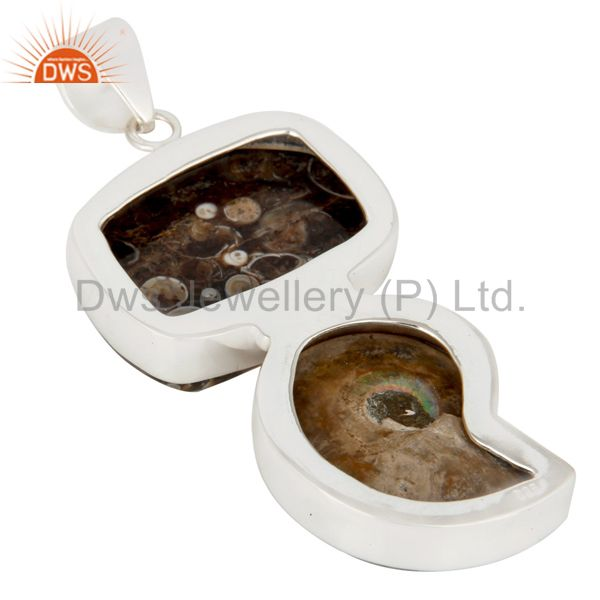 Suppliers Handmade Turritella Agate And Ammonite Solid Sterling Silver Pendant
