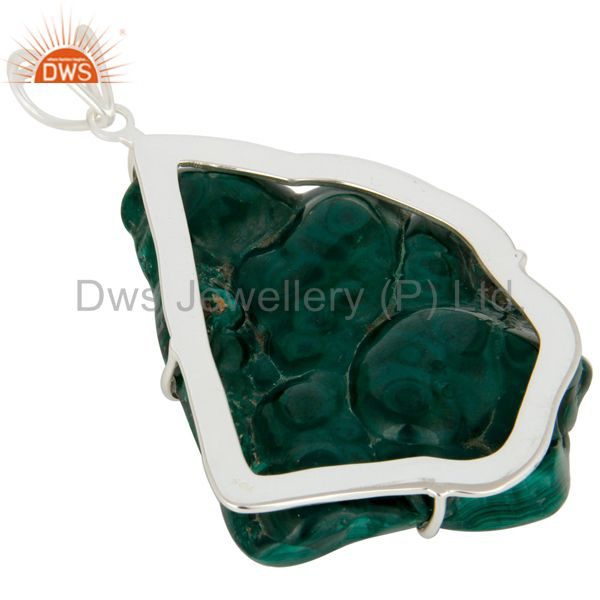 Suppliers Handmade Sterling Silver Natural Malachite Prong Set Gemstone Pendant