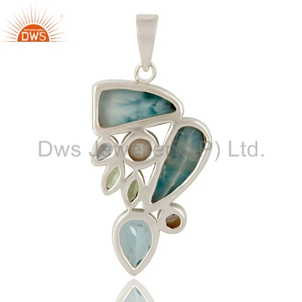 Suppliers Larimar Pearl Blue Topaz and Green Amethyst 925 Silver Combination Pendant