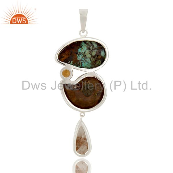 Suppliers Boulder Turquoise, Ammonite Citrine and Rutile Sterling Silver Artisan Pendant