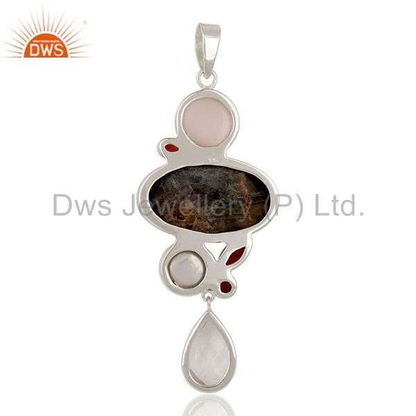 Suppliers Streight Designer Multi Color Stone Sterling Silver Artisan Pendant