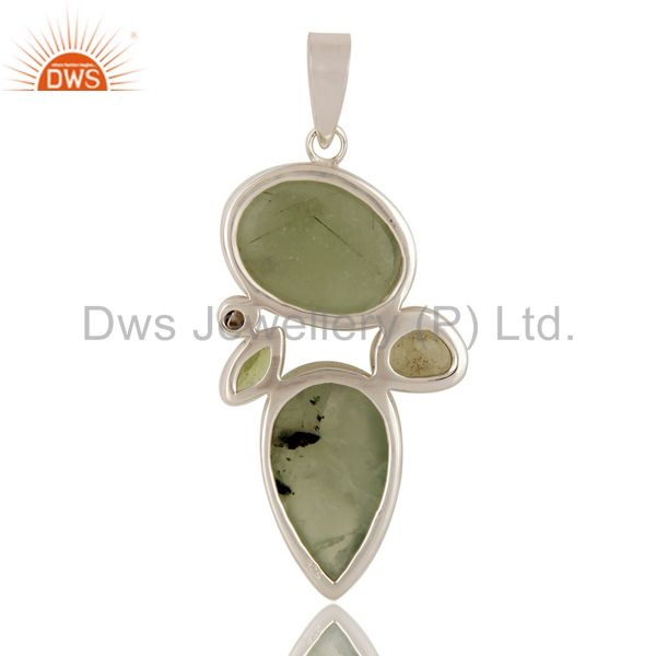 Suppliers Prehnite, Peridot, Lemon Topaz and Pearl Sterling Silver Artisan Pendant