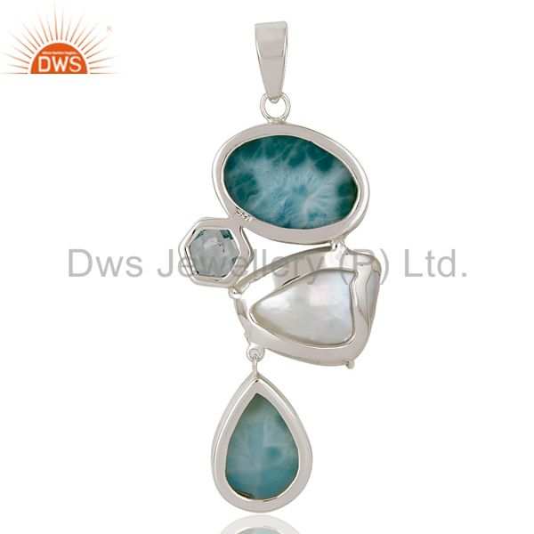 Suppliers Blue Topaz, Larimar & Fresh Water Pearl Sterling Silver Artisan Pendant