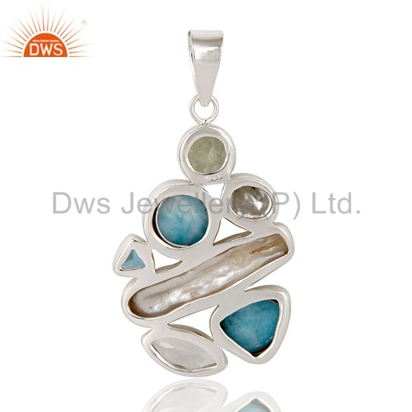 Suppliers Larimar With Multi Color Stone 925 Sterling Silver Pendant