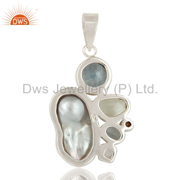 Suppliers Boroque Pearl, Blue Topaz, Amethyst and Pearl Designer Sterling Silver Pendant