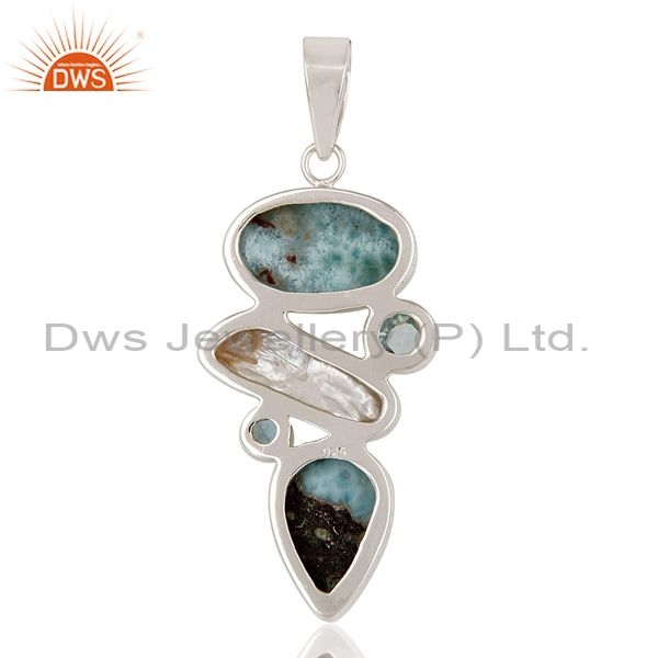 Suppliers Larimar, Pearl & Blue Topaz 925 Sterling Silver Pendant