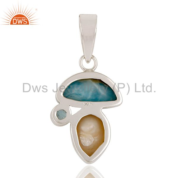 Suppliers Larimar, Blue Topaz & Pearl 925 Sterling Silver Pendant