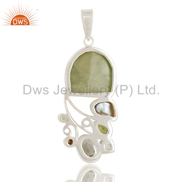 Suppliers Prehnite, Peridot, Pearl and Green Amethyst Sterling Silver Pendant