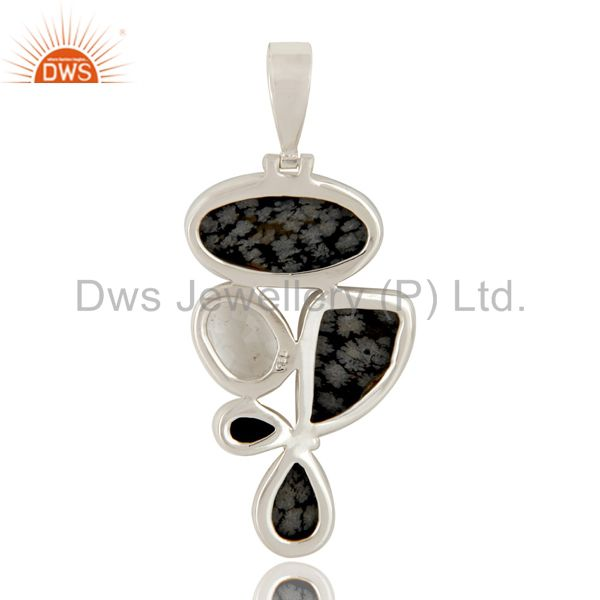 Suppliers Snowflake Obsidian, Black Onyx and Crystal Sterling Silver Gemstone Pendant