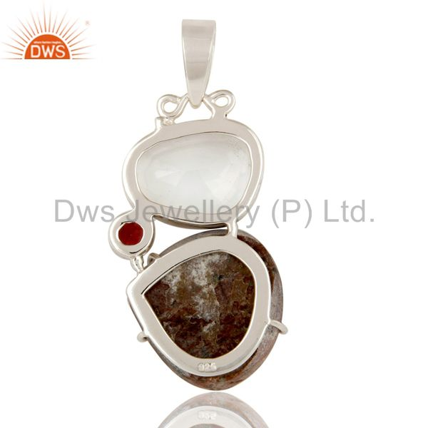 Suppliers Cobalto Calsite, Garnet and Crystal Sterling Silver Handmade Pendant
