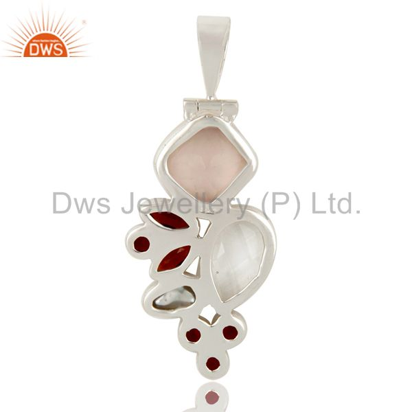 Suppliers Rose Quartz, Garnet, Crystal and Fresh Water Pearl Sterling Silver Pendant