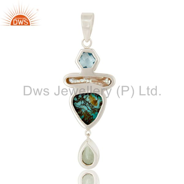 Suppliers Boulder Turquoise, Prasiolite, BT and Pearl Handmade Sollid 925 Silver Pendant