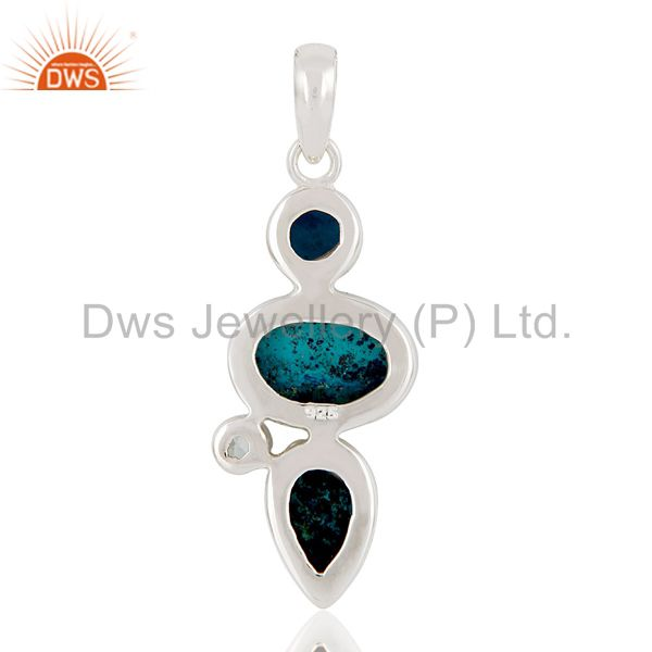 Suppliers Blue Topaz, Crysocola & Natural Druzy Handmade Sollid Sterling Silver Pendant