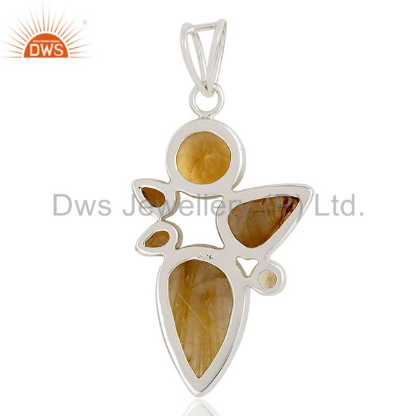 Suppliers Citrine And Rutile Quartz 925 Sterling Silver Designer Pendant