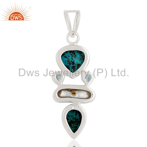 Suppliers Blue Topaz, Crysocola & Fresh Water Pearl Sterling Silver Designer Pendant