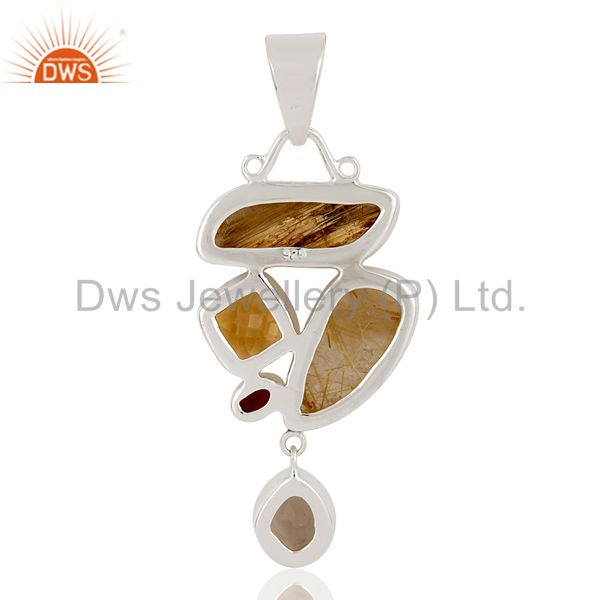 Suppliers Citrine And Garnet And Golden Rutile And Smokey Topaz Sterling Silver Pendant