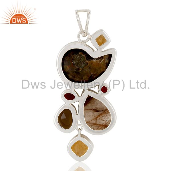 Suppliers Ammonite, Citrine, Garnet & Smokey Quartz Sterling Silver Designer Pendant