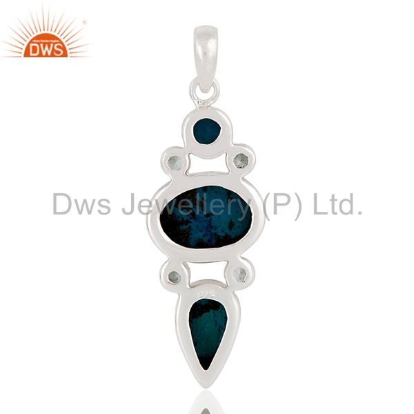 Suppliers Natural Blue Druzy, Chrysocola & Blue Topaz 925 Sterling Silver Designer Pendant