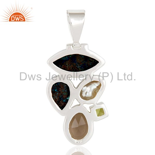 Suppliers Chrysocola, Water Pearl, Peridot & Smokey Quartz 925 Sterling Silver Pendant