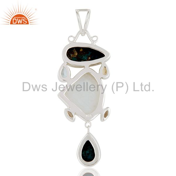 Suppliers Blue Topaz, Chrysocola, Citrine & Rainbow Moonstone Sterling Silver Pendant