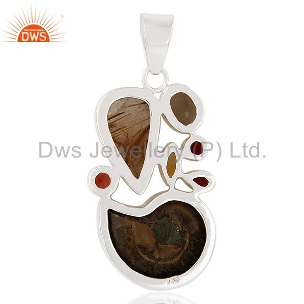 Suppliers Ammonite, Garnet, Smokey Topaz & Garnet Sterling Silver Pendant