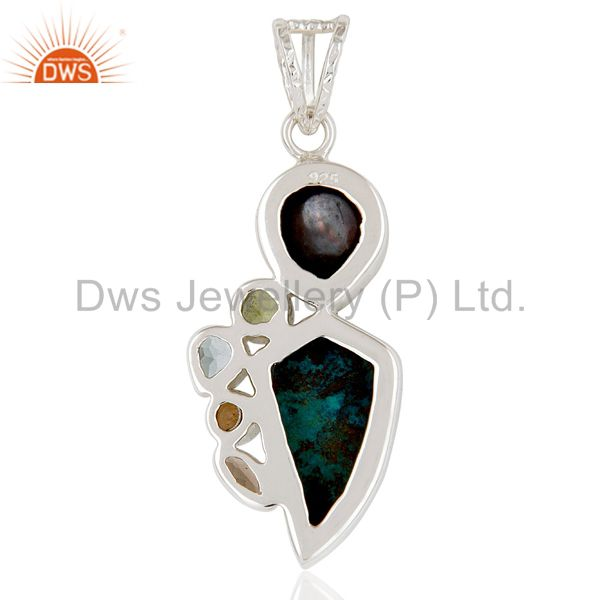 Suppliers Chrysocola, Blue Topaz, Pearl & Smokey Topaz Sterling Silver Pendant